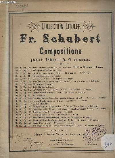 PANTHEON DES PIANISTES N°1 : MUSIQUE POUR PIANO, PIANO A 4 MAINS ET ORGUE - COMPOSITION POUR PIANO A 4 MAINS N°22 - OP.144 - LES ORAGES DE LA VIE - ALLEGRO CARACTERIQTIQUE. A MOLL - LA MINEUR - A MINOR.