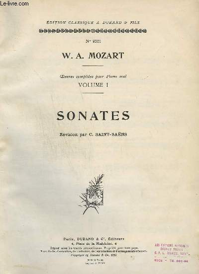 OEUVREES COMPLETES POUR PIANO SEUL - VOLUME 1 - 188 SONATES.