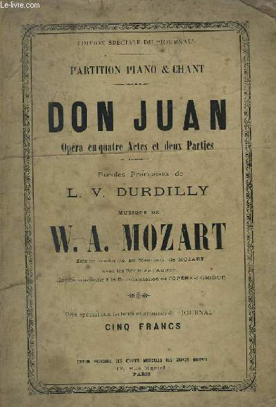 DON JUAN - PARTITION PIANO & CHANT.