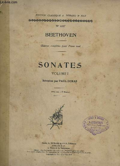 SONATES - VOLUME 1 - POUR PIANO - N°9327 - SONATE N° 15 INCOMPLETE.