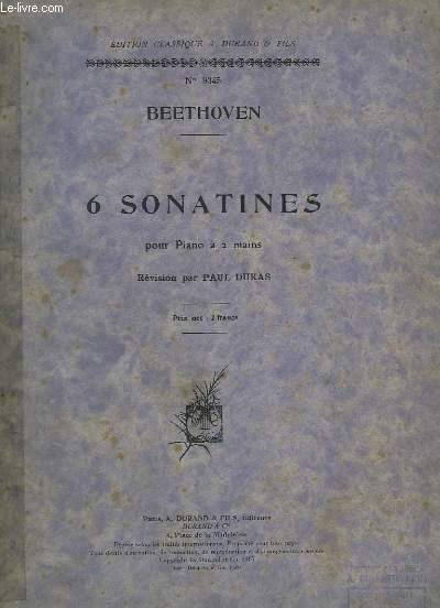 6 SONATINES - POUR PIANO A 2 MAINS.