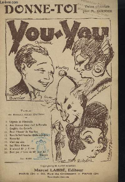 YOU - YOU N°14 - OPERETTE EN 3 ACTES - DONNET TOI.