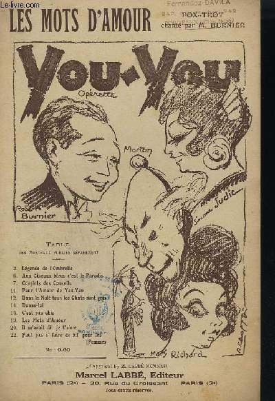 YOU - YOU N°19 - OPERETTE EN 3 ACTES - LES MOTS D'AMOUR.