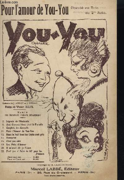 YOU - YOU N°11 - OPERETTE EN 3 ACTES - POUR L'AMOUR DE YOU YOU.