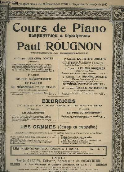 COURS DE PIANO - ELEMENTAIRE & PROGRESSIF - 3° CAHIER D'ETUDES.