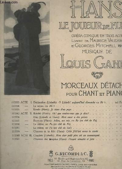 HANS, LE JOUEUR DE FLUTE - ACTE 2 : MON COEUR A DES PEINES - PIANO ET CHANT - N°113336.