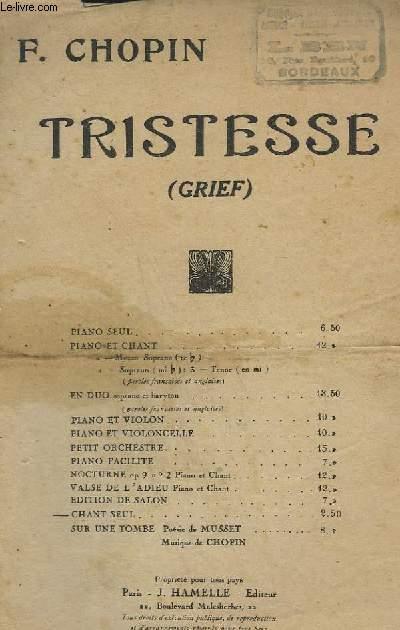 TRISTESSE - CHANT SEUL.