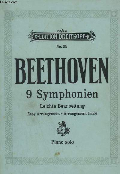 9 SYMPHONIEN - LEICHTE BEARBEITUNG / EASY ARRANGEMENT / ARRANGEMENT FACILE - PIANO SOLO - N°39.
