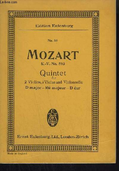 QUINTET - FOR 2 VIOLINS + 2 VIOLAS + VIOLONCELLO - D MAJOR / RE MAJEUR / D DUR - N°50.