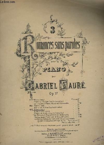 3 ROMANCES SANS PAROLES - N°3 : POUR PIANO SEUL.