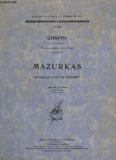 MAZURKAS - OEUVRES COMPLETES POUR PIANO - N°9703.