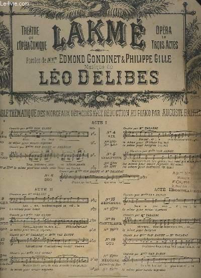 LAKME - N°10 : SCENE ET LEGENDE DE LA FILLE DU PARIA - POUR PIANO.