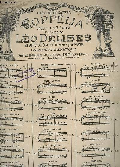 COPPELIA - N°1 : PRELUDE ET VALSE LENTE - PRELUDE POUR PIANO.