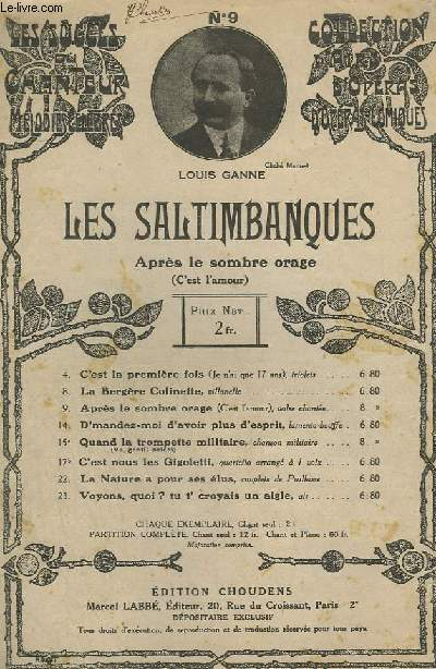 LES SALTIMBANQUES - N° 9 : C'EST L'AMOUR - OPERA COMIQUE EN 3 ACTES ET 4 TABLEAUX.