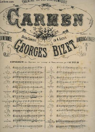 CARMEN - OPERA COMIQUE EN 4 ACTES - N°4 : CHANT + PIANO.