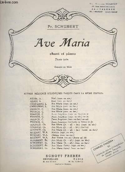 AVE MARIA / HYMNE AN DIE JUNGFRAU -  CHANT ET PIANO - TEXTE LATIN.
