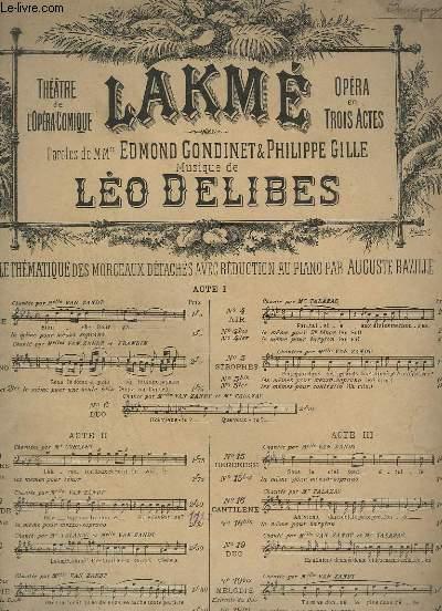 LAKME - N°10 : SCENE ET LEGENDE DE LA FILLE DU PARIA - PIANO + CHANT.