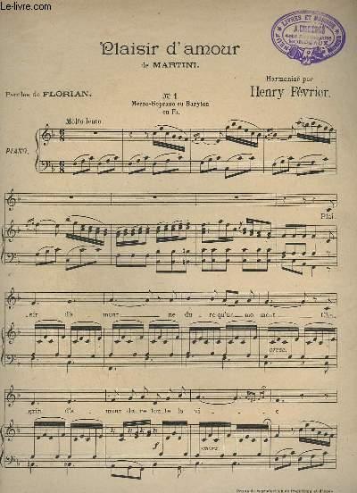 PLAISIR D'AMOUR - N°1 : MEZZO-SOPRANO OU BARYTON EN FA - PIANO + CHANT.