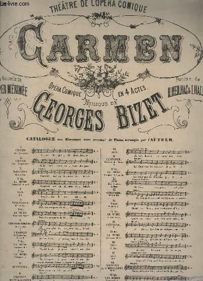CARMEN - N°15 : AIR POUR CHANT + PIANO - OPERA COMIQUE EN 4 ACTES DE GEORGES BIZET.