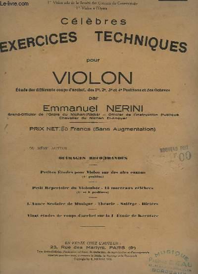 CELEBRES EXERCICES TECHNIQUES POUR VIOLON - 20° MILLE - 14° EDITION.