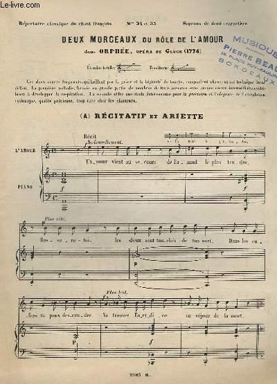DEUX MORCEAUX DU ROLE DE L'AMOUR - RECITATIF ET ARRIETTE - DANS ORPHEE - PIANO + CHANT.