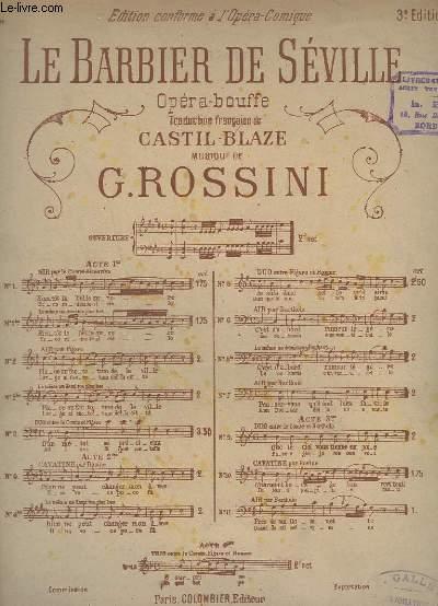LE BARBIER DE SEVILLE - N°2 BIS - 3° EDITION - PIANO + CHANT.