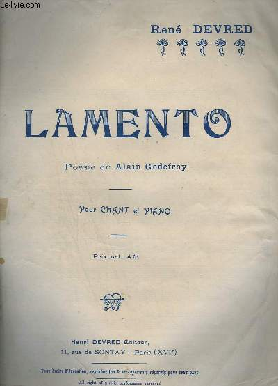 LAMENTO - PIANO + CHANT.