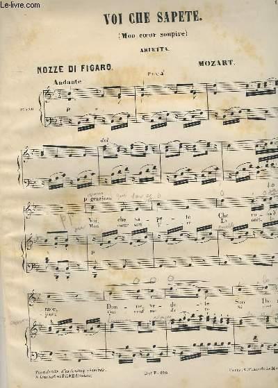 VOI CHE SAPETE - MON COEUR SOUPIRE - PIANO + CHANT.