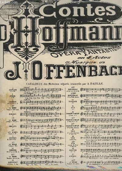 LES CONTES D'HOFFMANN N°13 QUATER : BARCAROLLE POUR PIANO + CHANT A 1 VOIX.