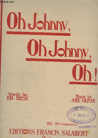 OH JOHNNY, OH JOHNNY, OH ! - PIANO + CHANT.