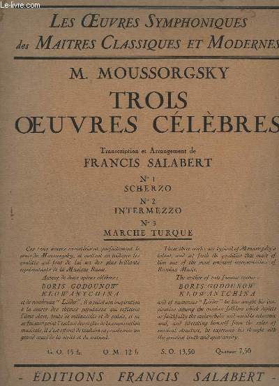 TROIS OEUVRES CELEBRES - N°3 : MARCHE TURQUE - PIANO CONDUCTEUR + 1° VIOLINI CONDUCTEUR + VIOLONCELLI + CONTRABASSI.