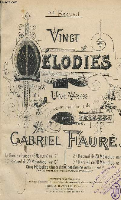 20 MELODIES POUR 1 VOIX AVEC ACCOMPAGNEMENT DE PIANO - RECUEIL N°2.