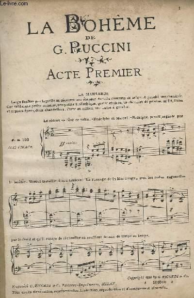 LA BOHEME DE G. PUCCINI - PIANO ET CHANT.