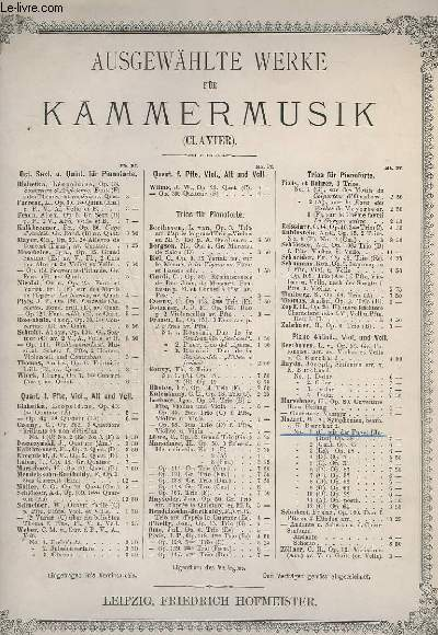 AUSGEWAHLTE WERKE FUR KAMMERMUSIK - CLAVIER : SYMPHONIEN N°1 - C, MIT DER FUGE - OP.38.