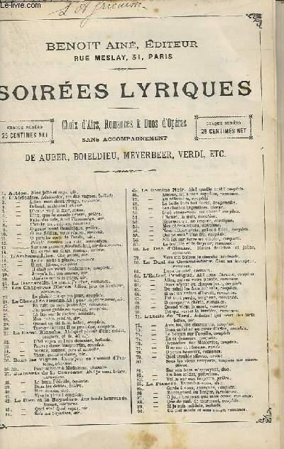 SOIREES LYRIQUES N°13 : L'AFFRICAINE - CHANT.