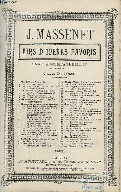 AIRS D'OPERAS FAVORIS - N°15 : ADIEU, NOTRE PETITE TABLE.