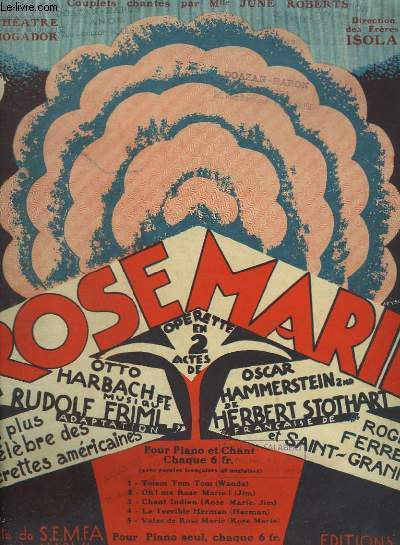ROSE MARIE N°1 : TOTEM TOM TOM - PIANO ET CHANT.