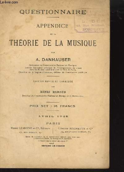 QUESTIONNAIRE - APPENDICE DE LA THEORIE DE LA MUSIQUE.