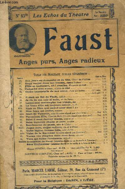 FAUST ANGES PURS, ANGES RADIEUX - INCOMPLET : 74 + 75 + 76 + 77 + 78 + 80 TER + 81 + 82 + 83 + 83 bis + 84 + 86.