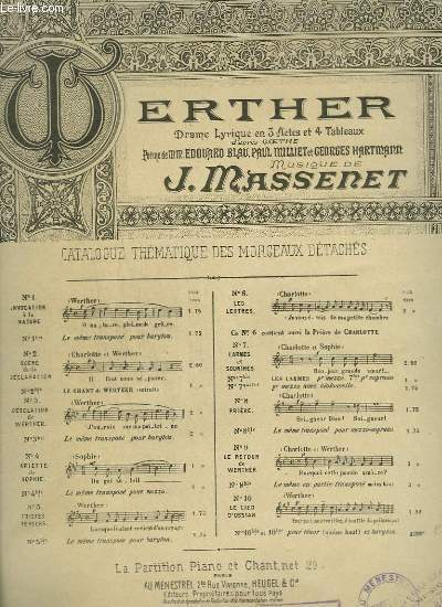 WERTHER - DRAME LYRIQUE N° 10 TER : LE LIED D'OSSIAN - PIANO + CHANT.