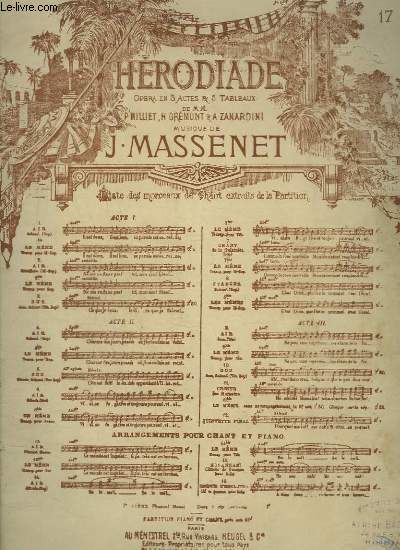 HERODIADE - N° 17 : SCENE DE PHANUEL - PIANO ET CHANT.