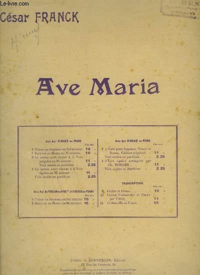 AVE MARIA - ORGUE - POUR MEZZO SOPRANO OU BARYTON.