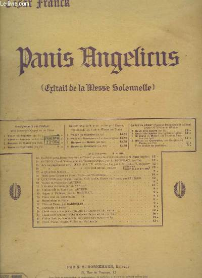 PANIS ANGELICUS - CHANT ET ORGUE - SOPRANO OU TENOR.