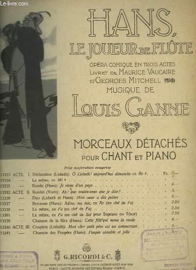 HANS, LE JOUEUR DE FLUTE - ACTE 1 : LA DECLARATION - O LISBETH ! AUJOURD'HUI DIMANCHE... - PIANO ET CHANT.