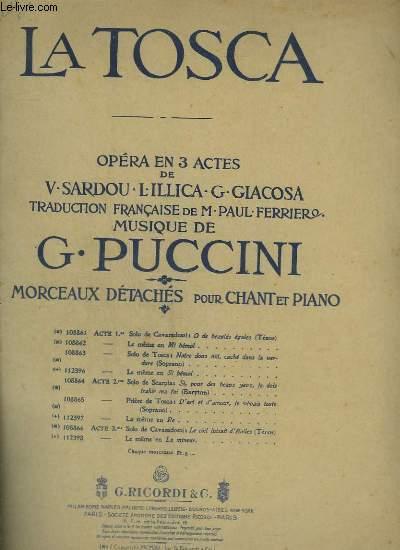 LA TOSCA - ACTE 2 : D'ART ET D'AMOUR JE VIVAIS TOUTE - PIANO ET CHANT.