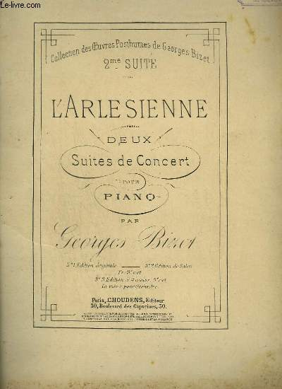 L'ARLESIENNE - 2° SUITE DE CONCERT POUR PIANO.