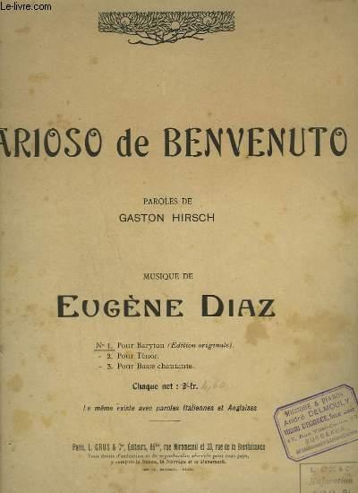 ARIOSO DE BENVENUTO - N°1 : POUR BARYTON - EDITION ORIGINALE.