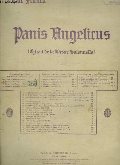 PANIS ANGELICUS - ORGUE + CHANT SOPRANO OU TENOR.