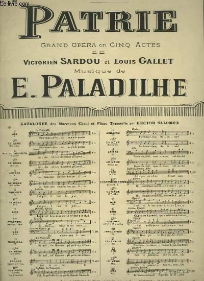 PATRIE - N°21 : CANTABILE DE RYSOOR - PIANO ET CHANT.
