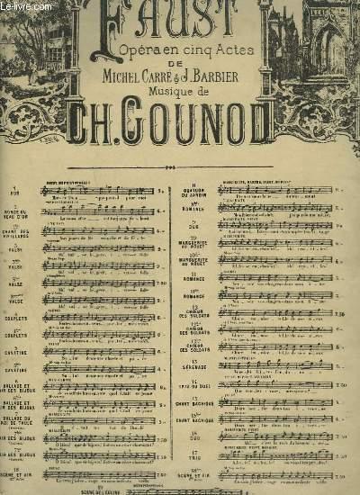FAUST - N°6 : BALLADE DU ROI THULE ET AIR DES BIJOUX - PIANO ET CHANT.